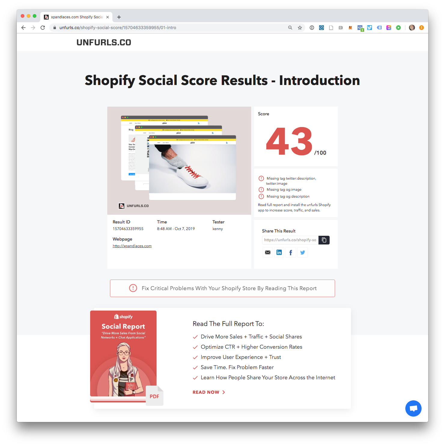 shopify social report